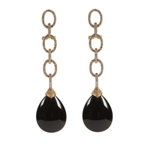 18 rose gold drop diamond earrings with onyx teardrops