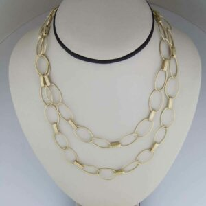 18k handmade open link long chain