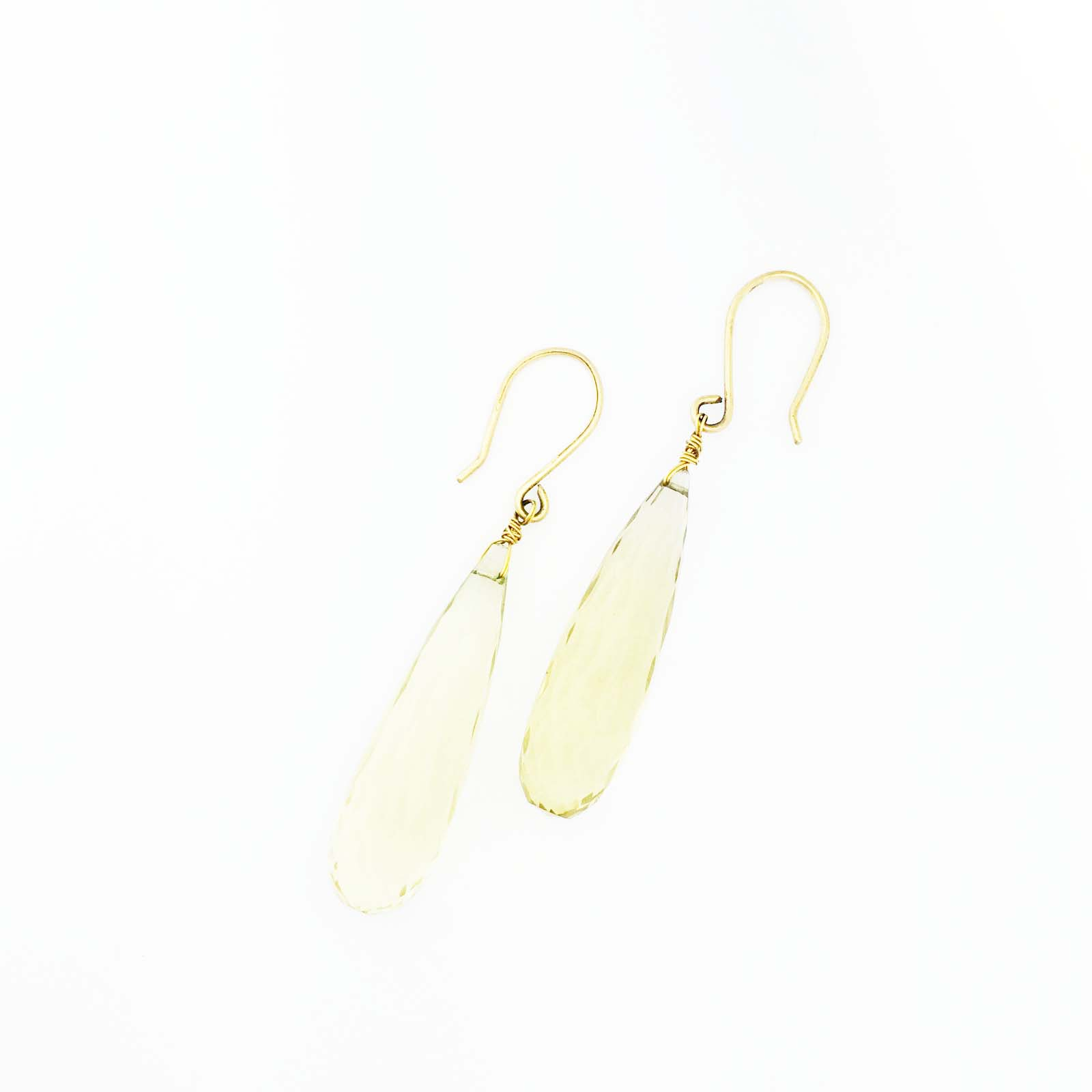 18k large Lemon Citrine briolette drop earrings