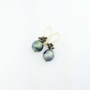 18k Tahitian Pearl and black diamond earrings