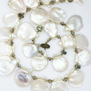 Keshi pearls and laboradorite bead handtied necklace