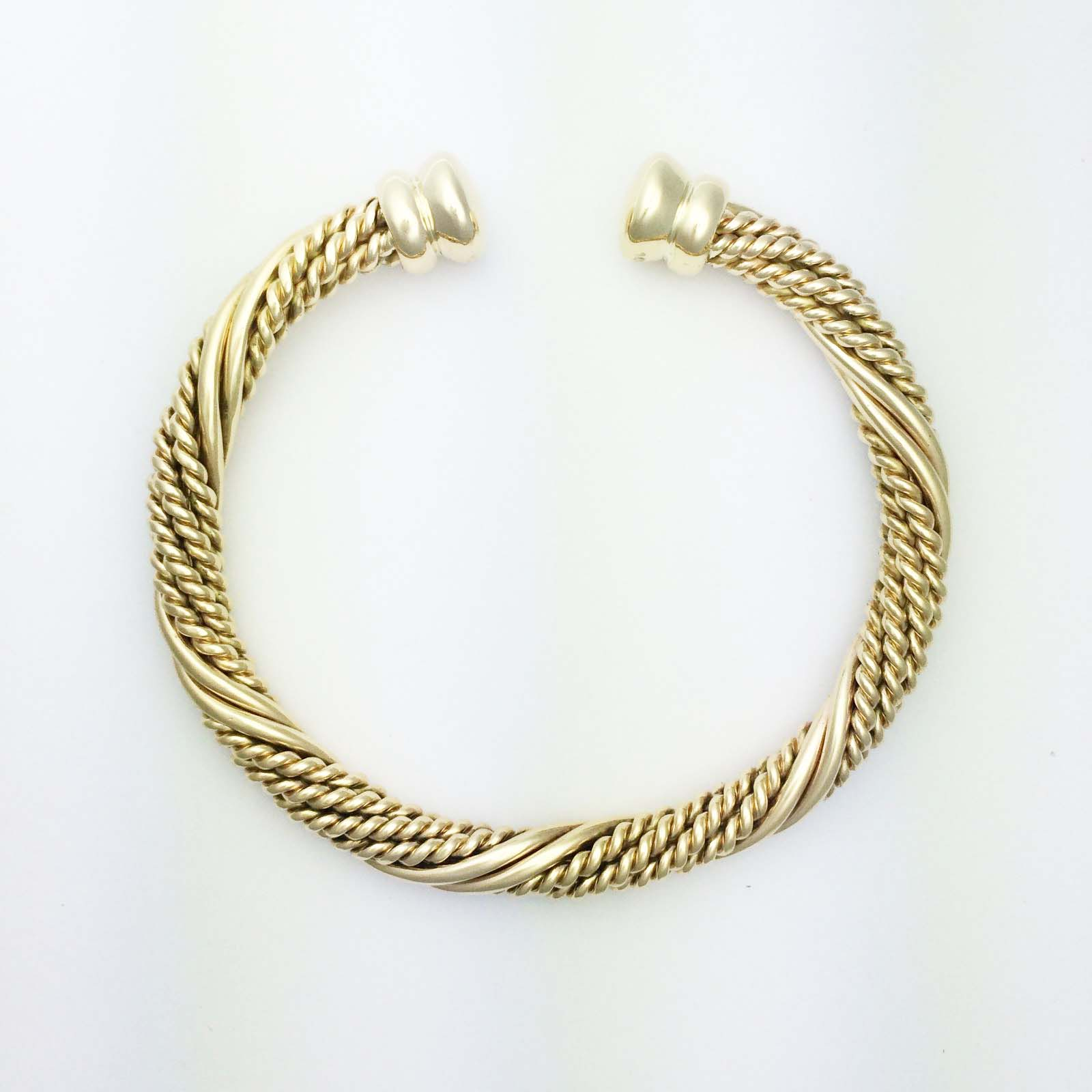 18k handmade Barbados cuff bangle
