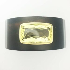 Ebony cuff with 18k bezel set large citrine