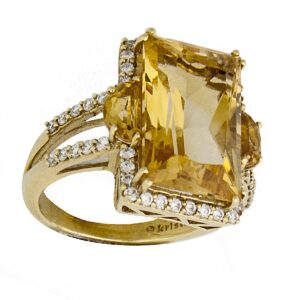 18k citrine and diamond cocktail ring