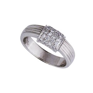 18 rectangle pave diamond ring with ridged shank