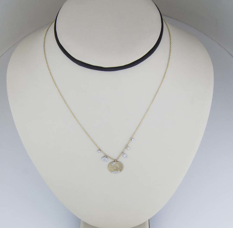 18k angel pendant with diamond charms