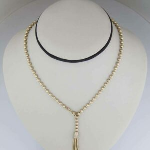 18K YG bead y-drop necklace with diamond and tassel end