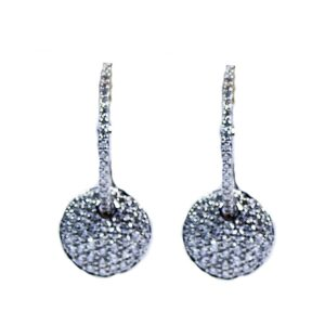 18kt diamond circle drop earrings