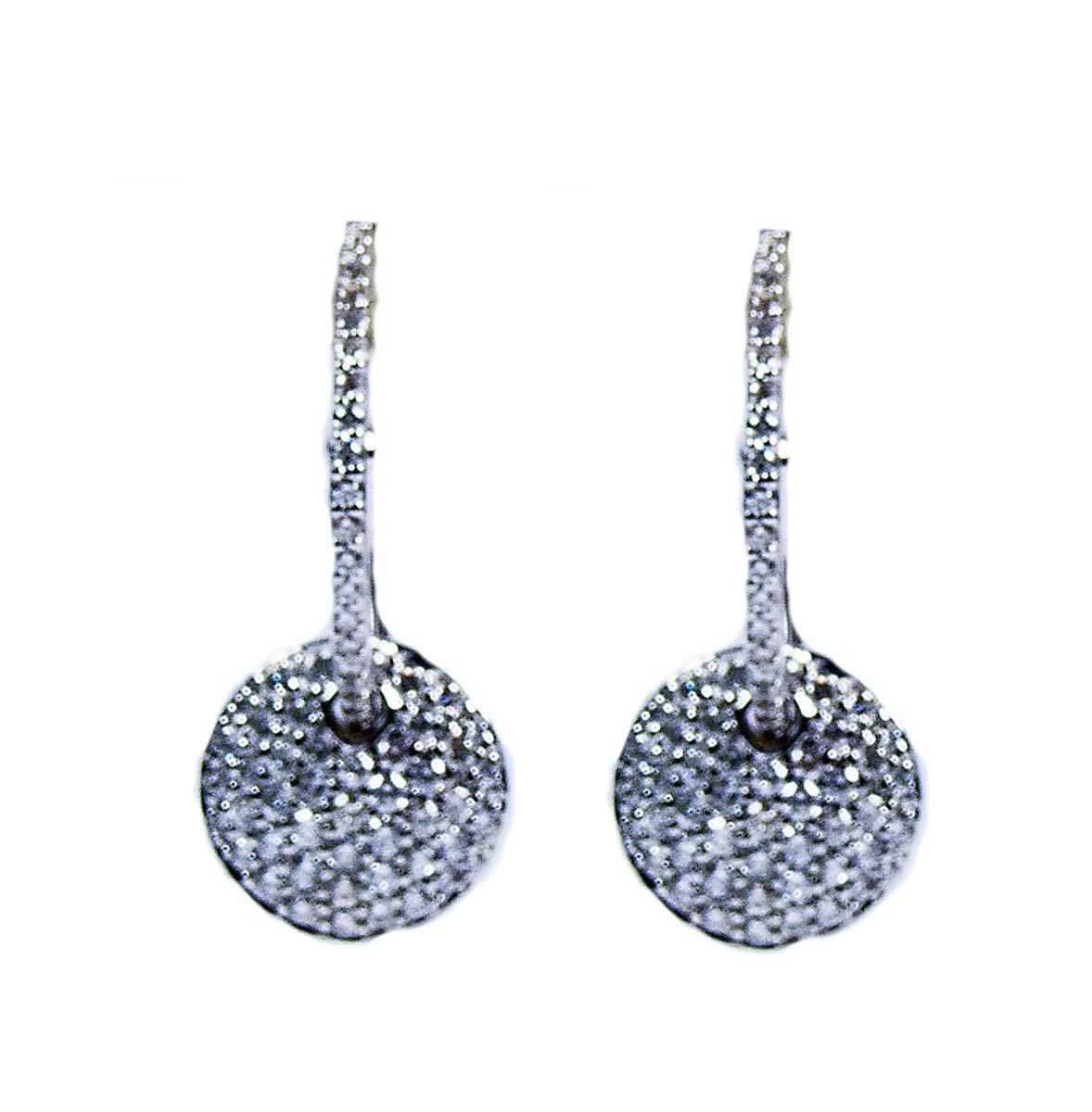 18kt diamond circle drop earrings
