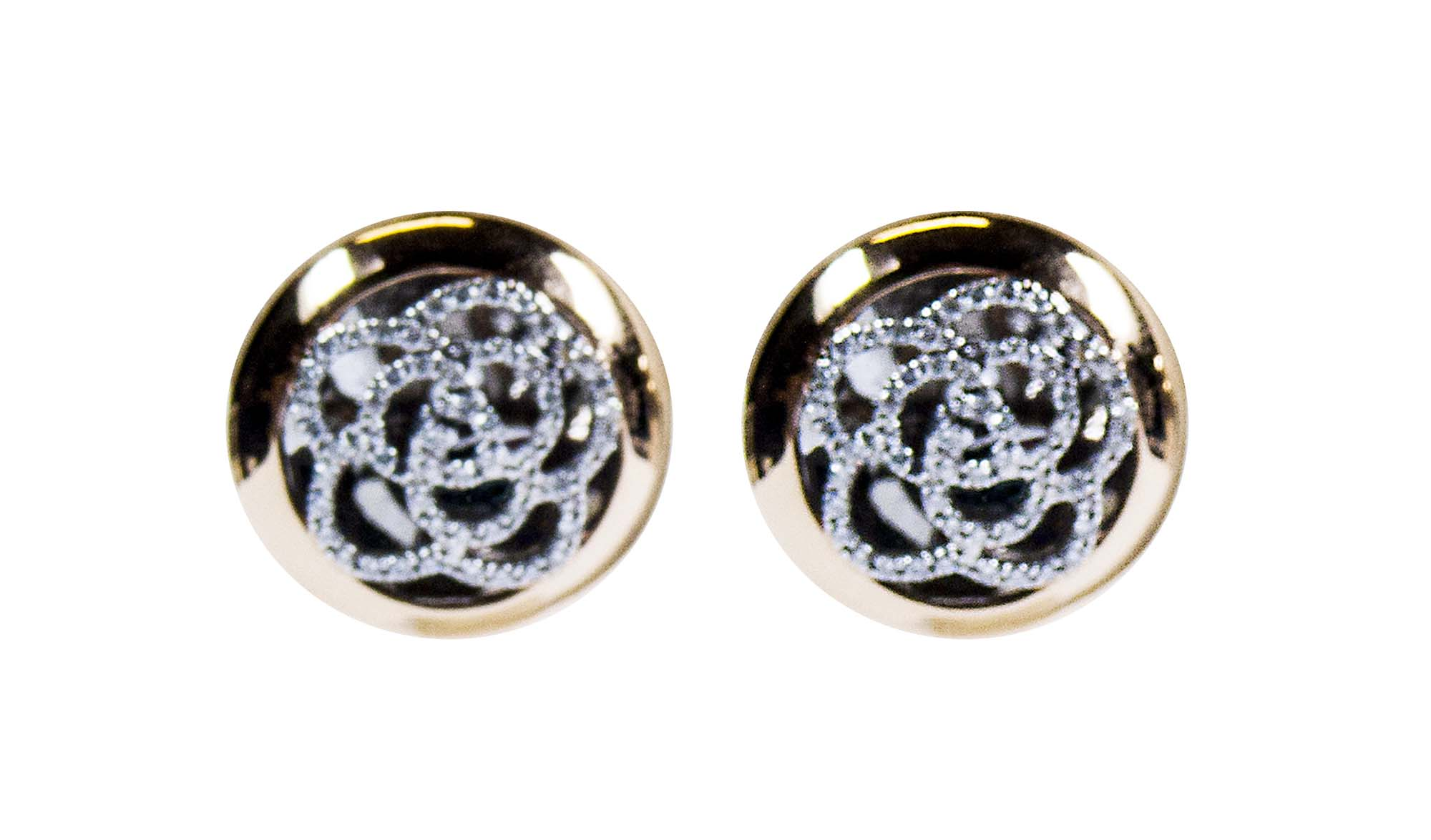 18 k rose and white gold intricate diamond circle earrings