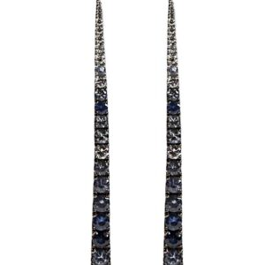 18k wg, diamond and various shades of blue sapphire long stick earrings. Dia=0.65, Sapphire=1.96