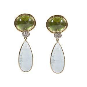 18K yg, wg dia, natural aqua and natural peridot earrings. (detachable aqua drops)