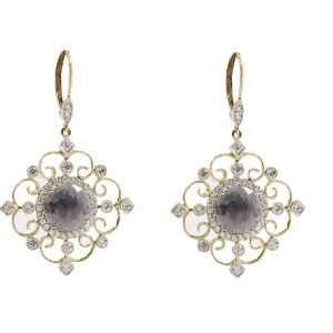 18k fancy sapphire and diamond drop earrings