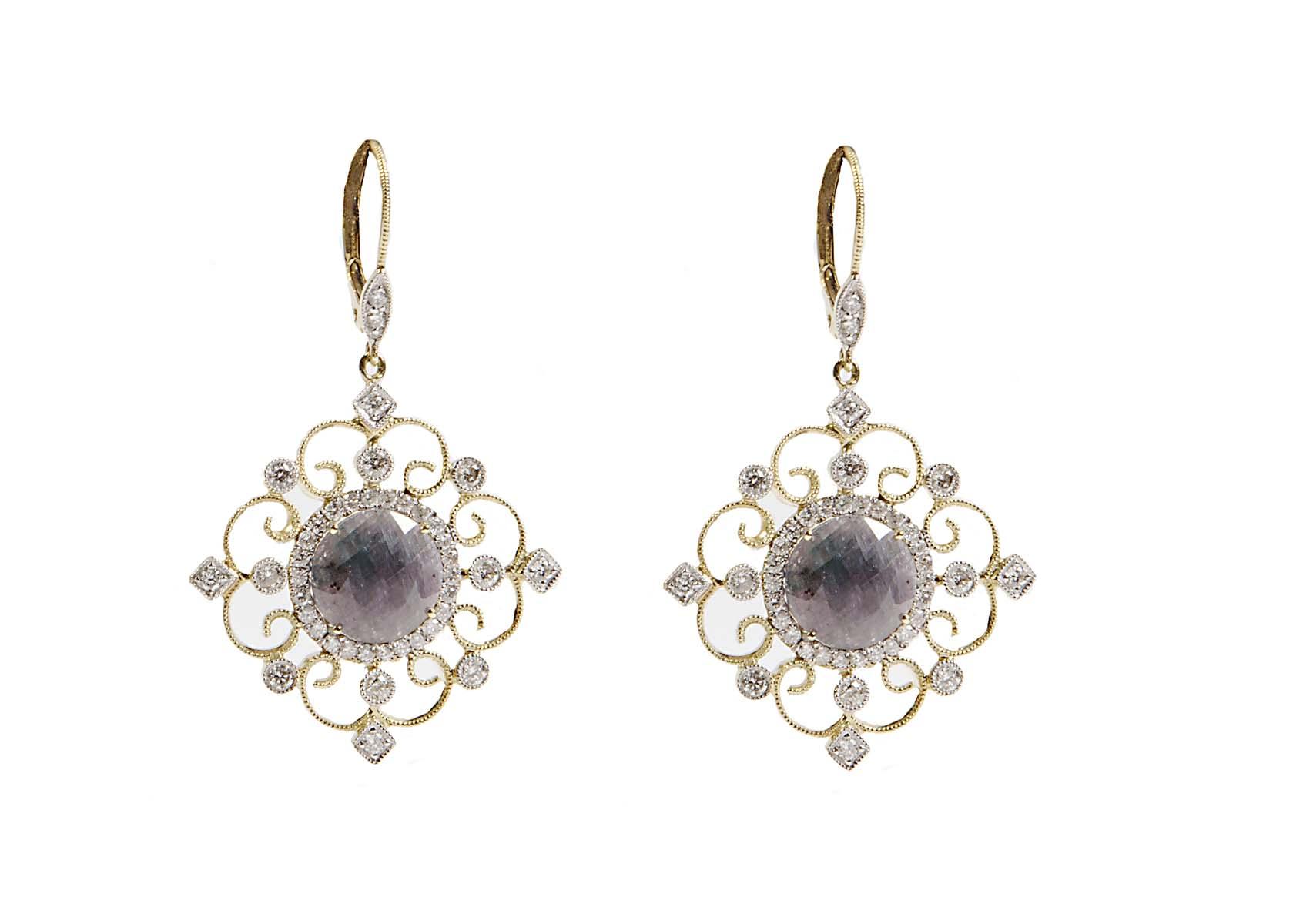 18k fancy sapphire and diamond drop earrings
