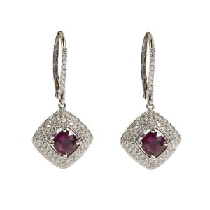 18k diamond and ruby drop earrings
