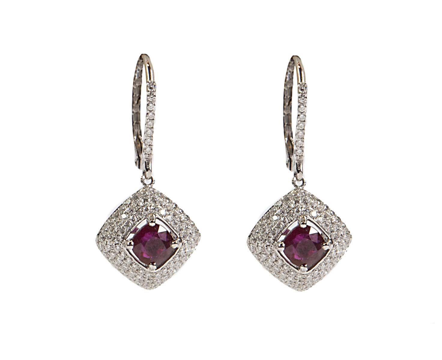 18k diamond and ruby drop earrings