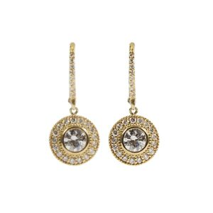 18k yellow gold and diamond bezel set drop earrings