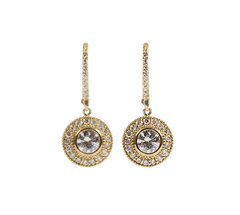 18k yellow gold and diamond bezel set drop earrings