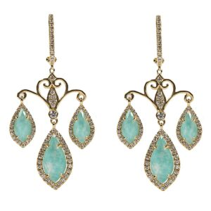 18k handmade yellow gold Azurite under white topaz diamond chandelier earrings