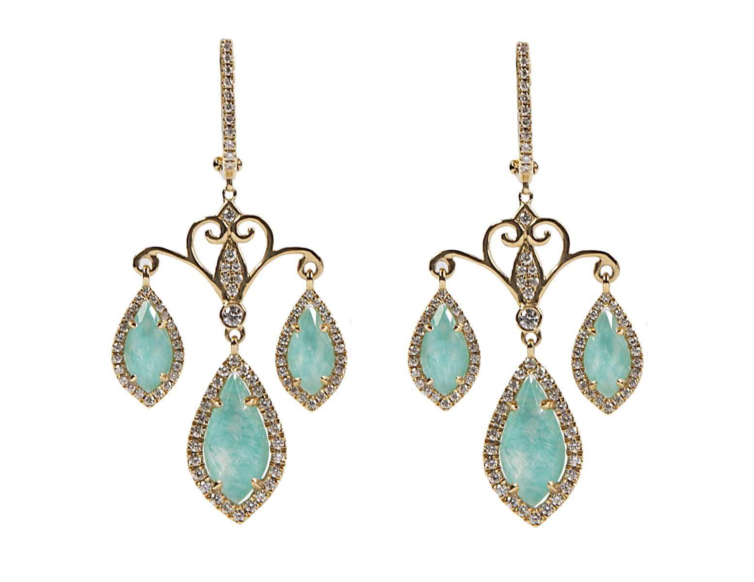 18k handmade yellow gold Azurite under white topaz diamond chandelier earrings