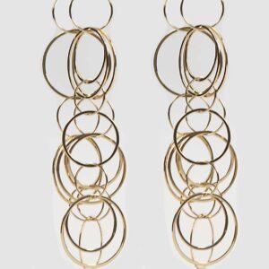 18K yg long multi circle earrings 10 grams Platini