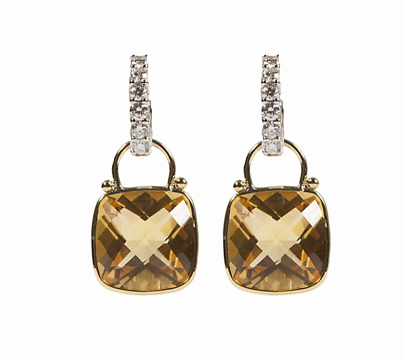 18 k diamond Huggies with Citrine Enhancers (sold separately)