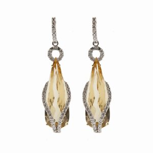 18k yellow beryl teardrop earrings with diamonds