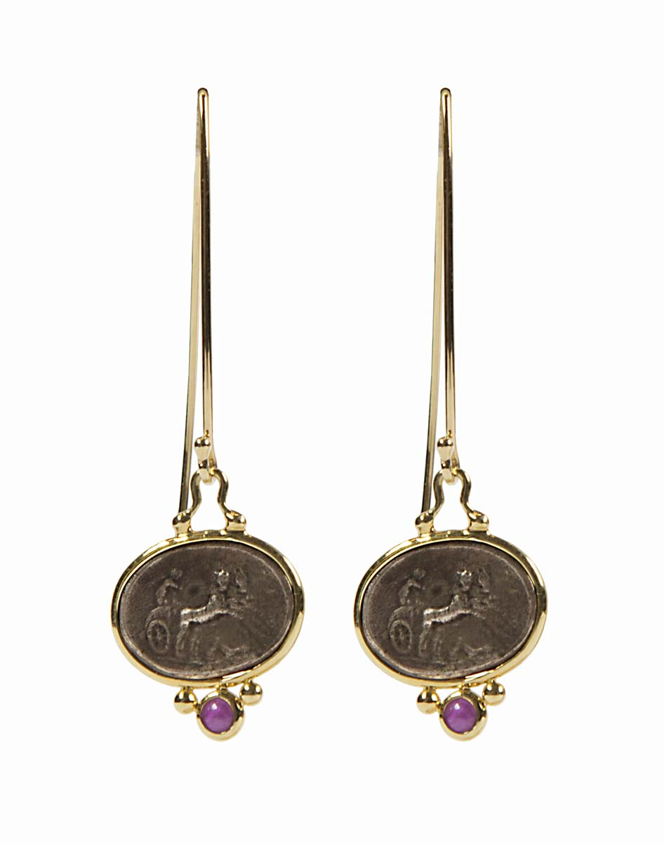 18k antique coin earrings with ruby