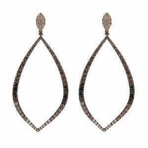 18k white and brown diamond earrings