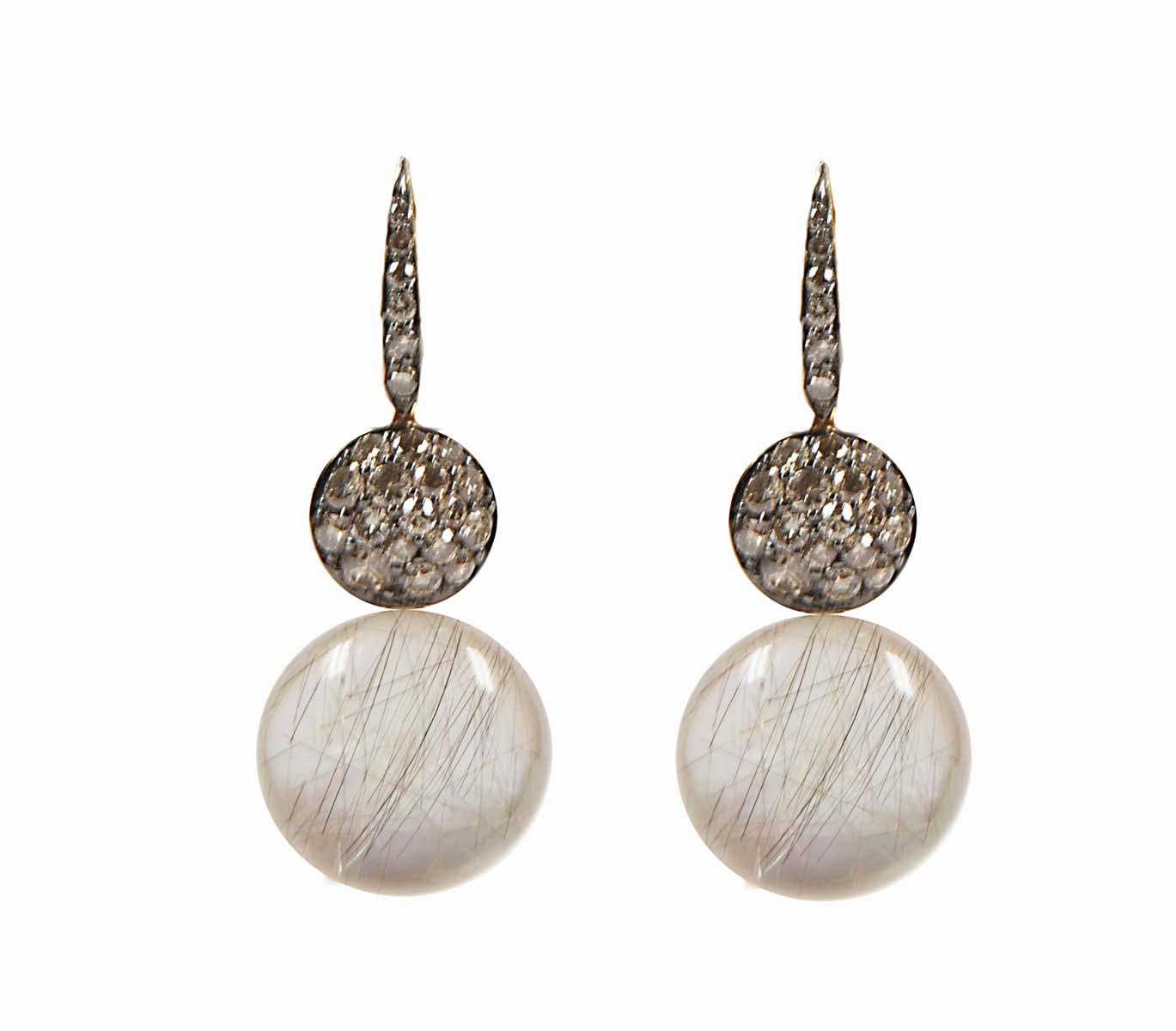 18 k rose gold earrings with Rutilated Quartz