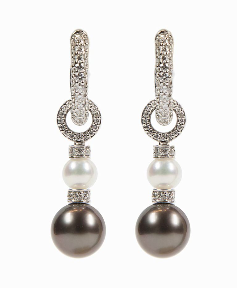18 k Diamond huggies with Tahitian and Akoya pearl enhancers