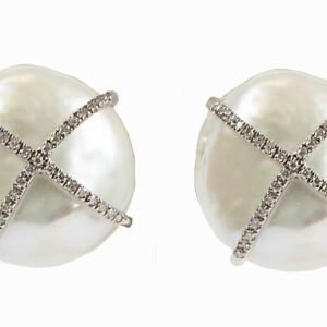 Large Pearl earrings with diamond x cross