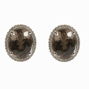 18k smokey quartz and diamond earrings