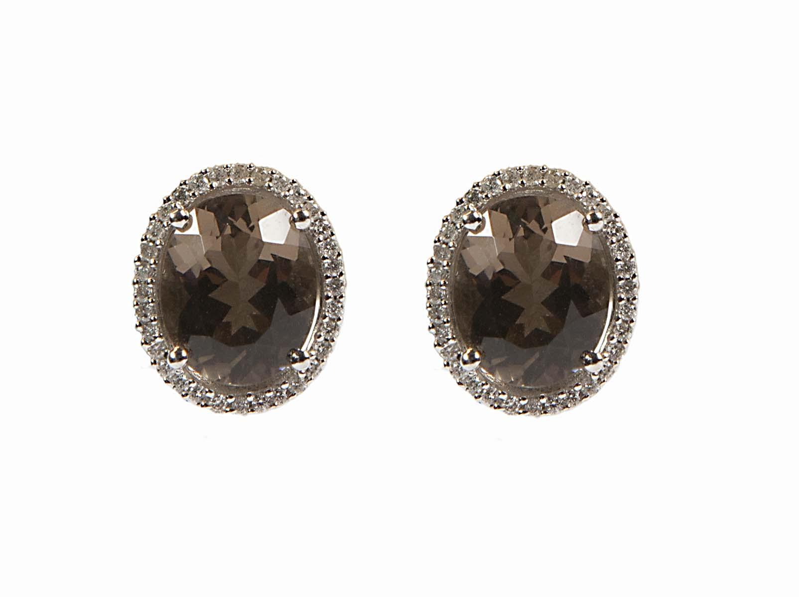 18k smokey quartz and diamond earrings
