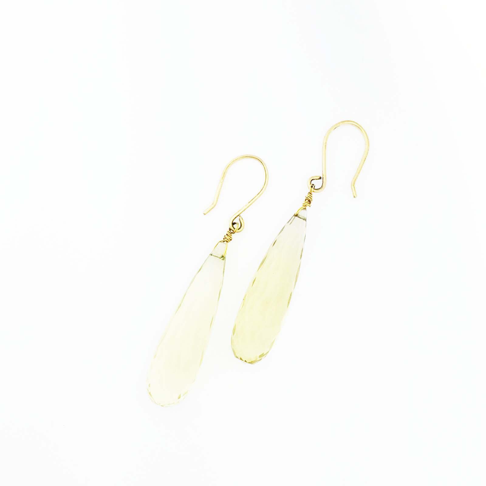 18k large Lemon Citrine briolette drop earrings
