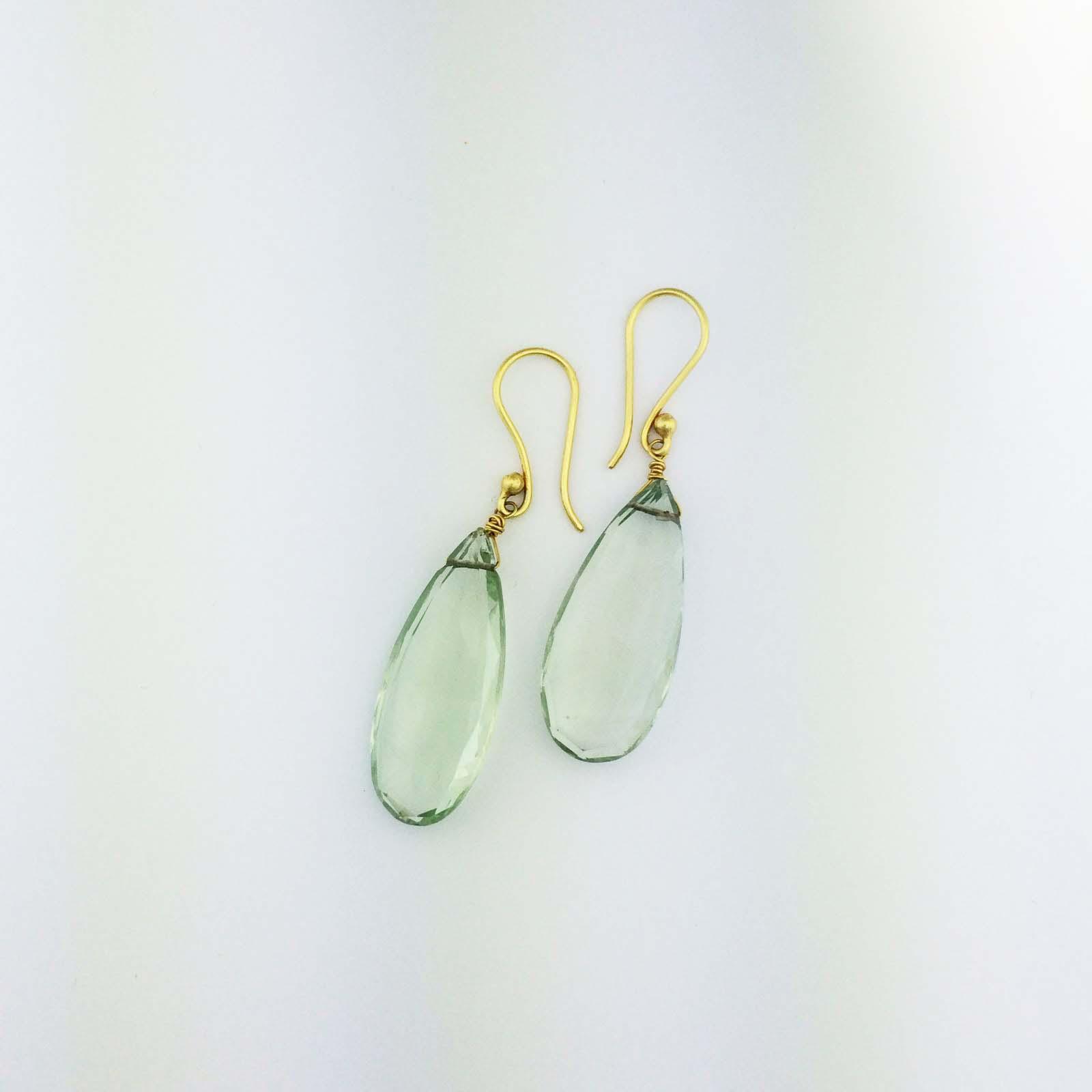 Large 18k green beryl drop earrings