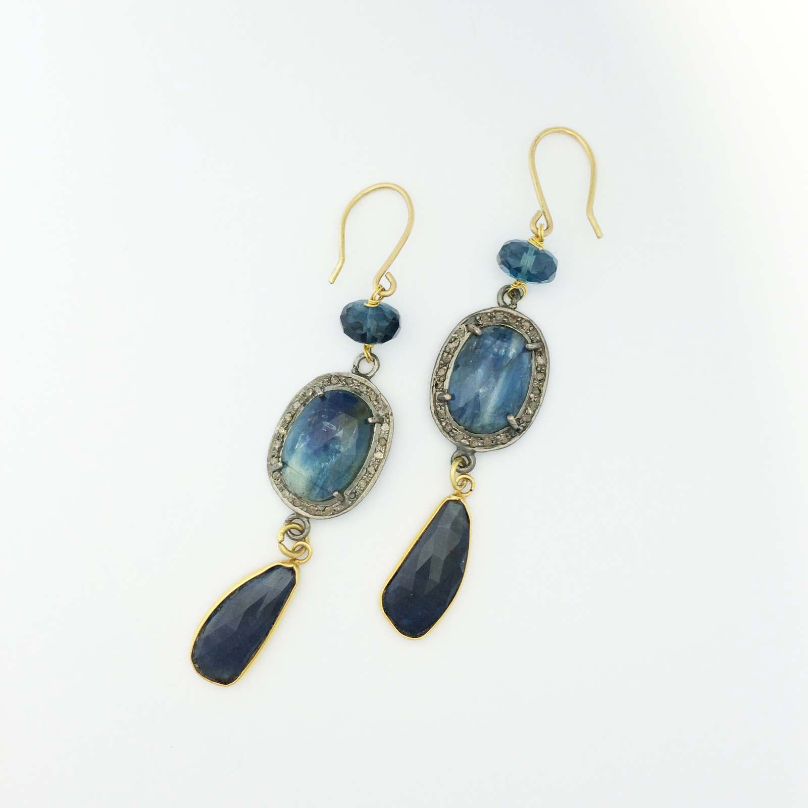 18k London Blue Topaz drop earrings