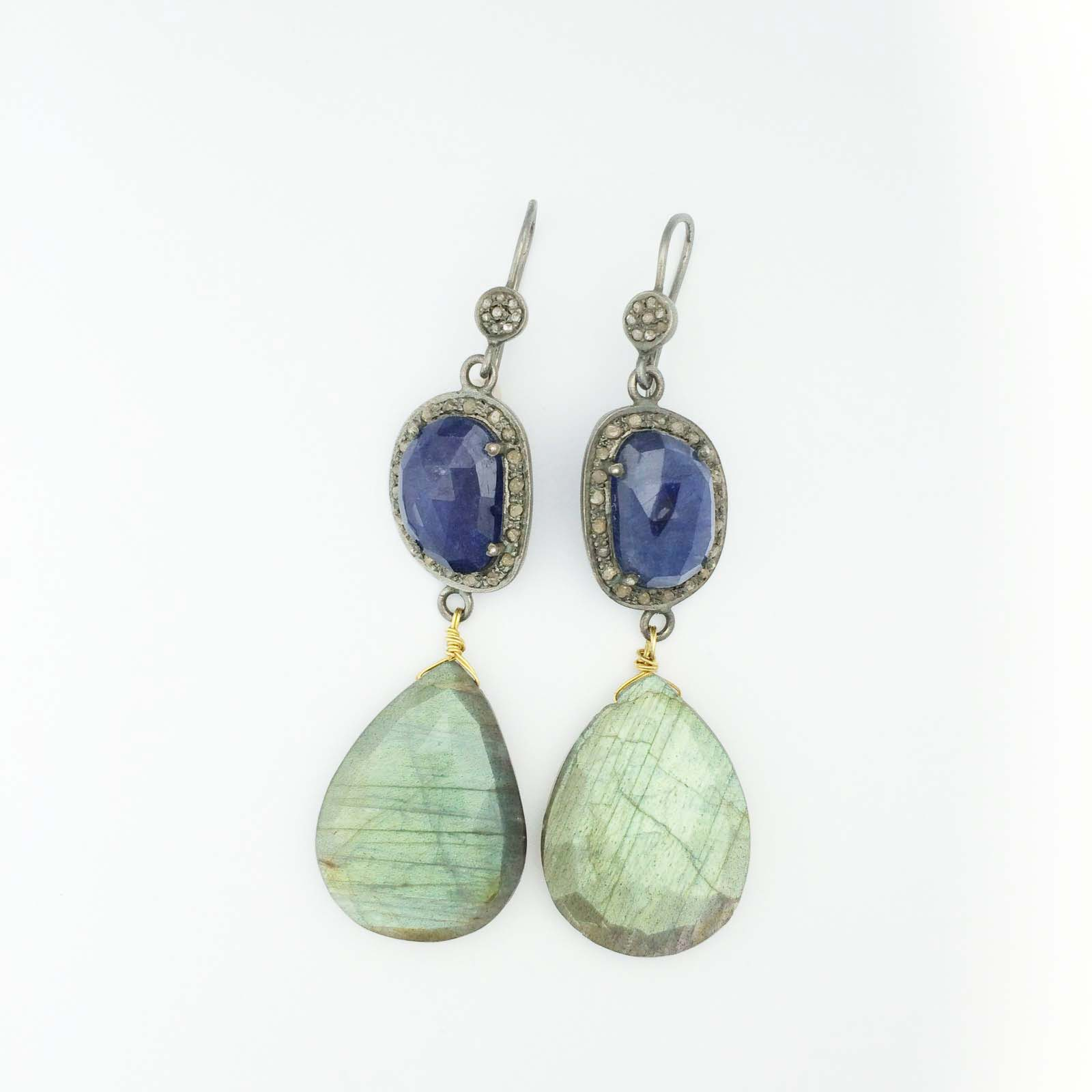 18k Laboradorite teardrop earrings
