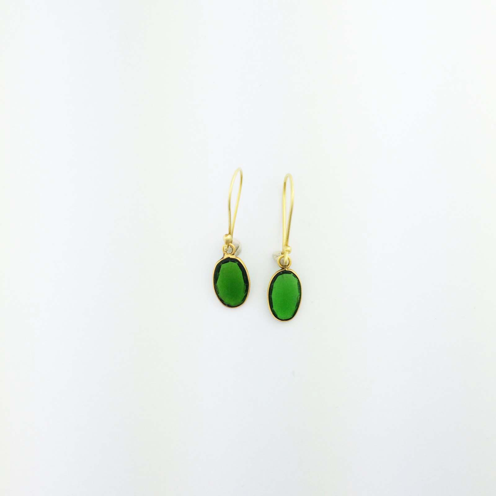 18k Green Oval tourmaline earrings