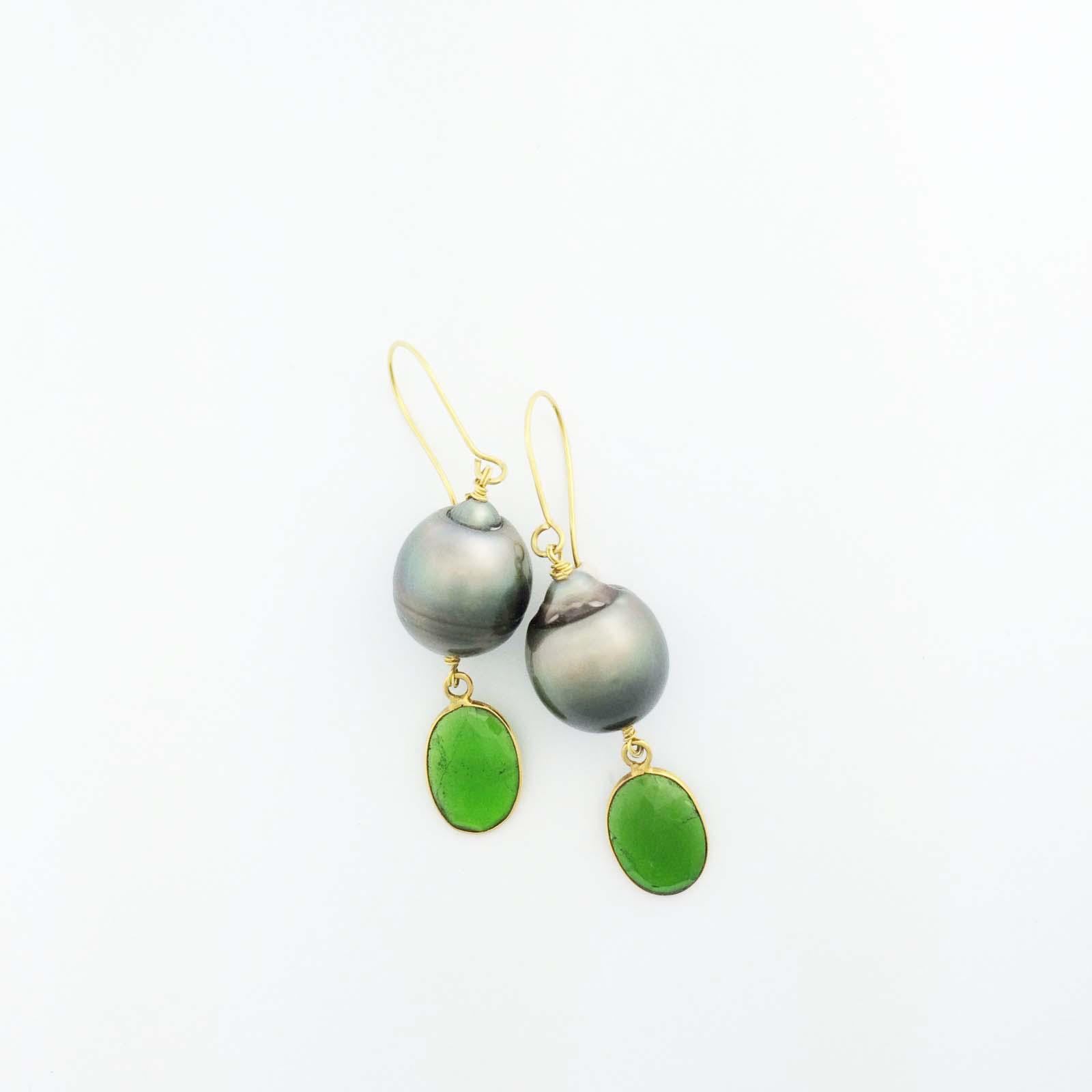 18k Tahitian pearl and green tourmaline earrings