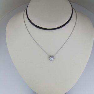 18k round brilliant cut diamond with diamond halo pendant
