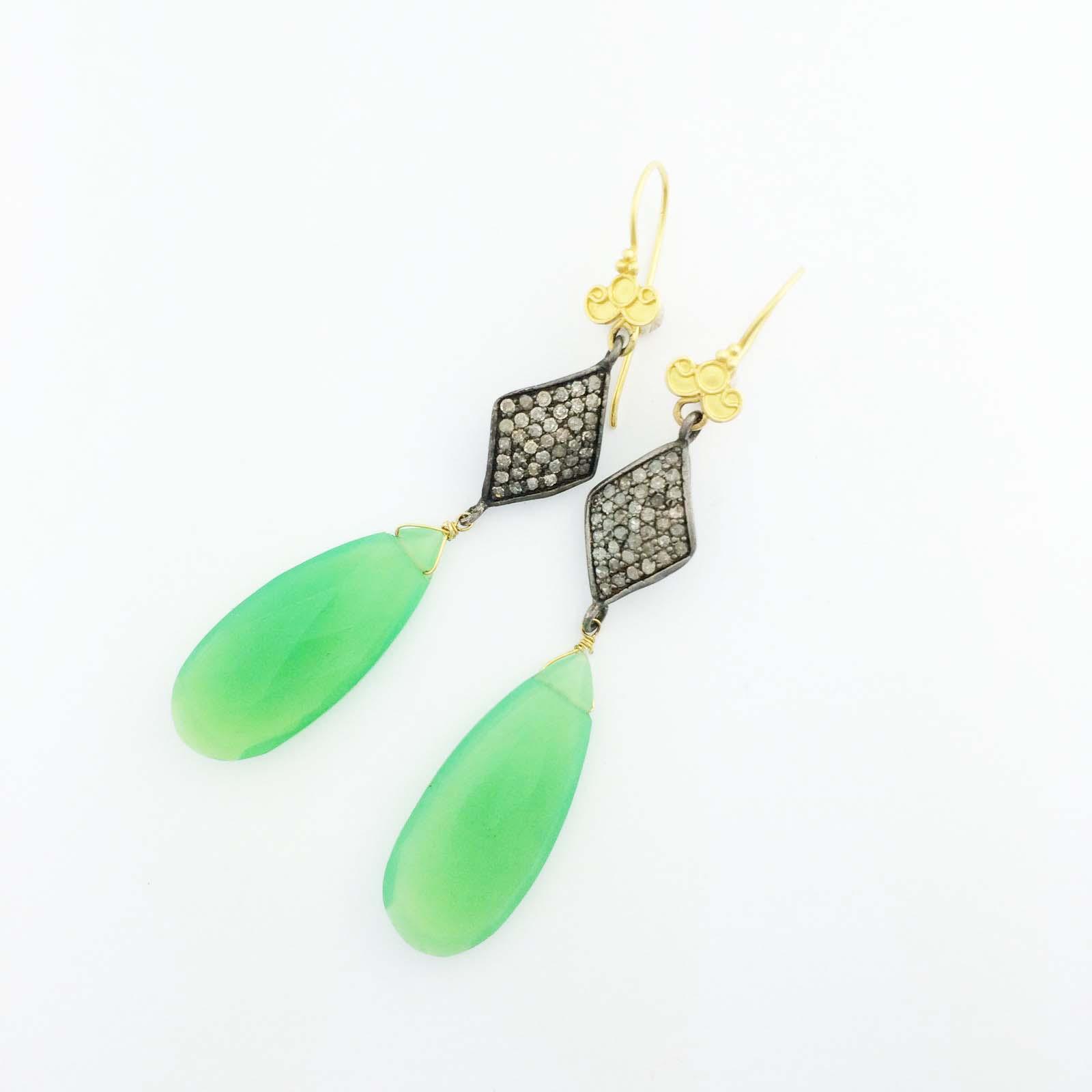 Chryocal and diamond drop earrings