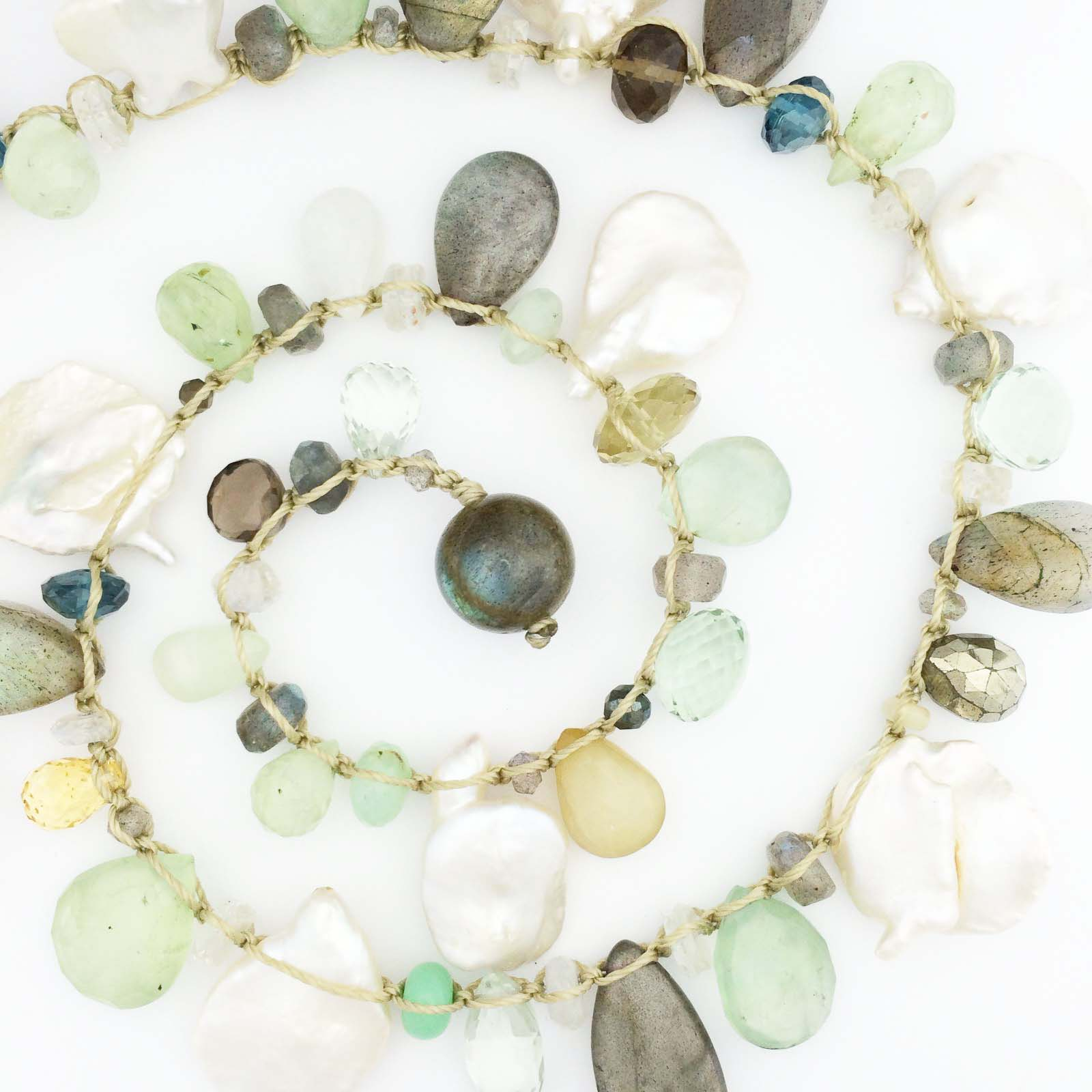 multi semi precious stone and pearl necklace