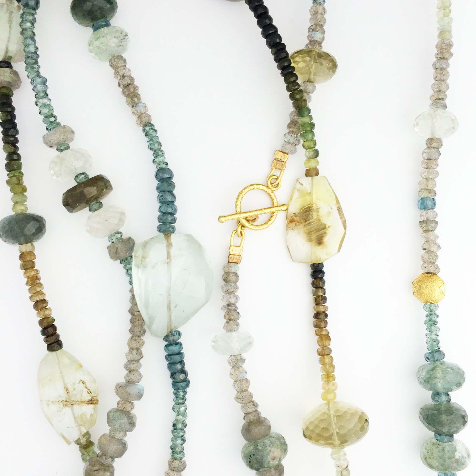 Xl multi strand necklace with various semi precious stones