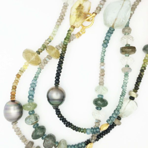 Multi semi precious stone and pearl necklace
