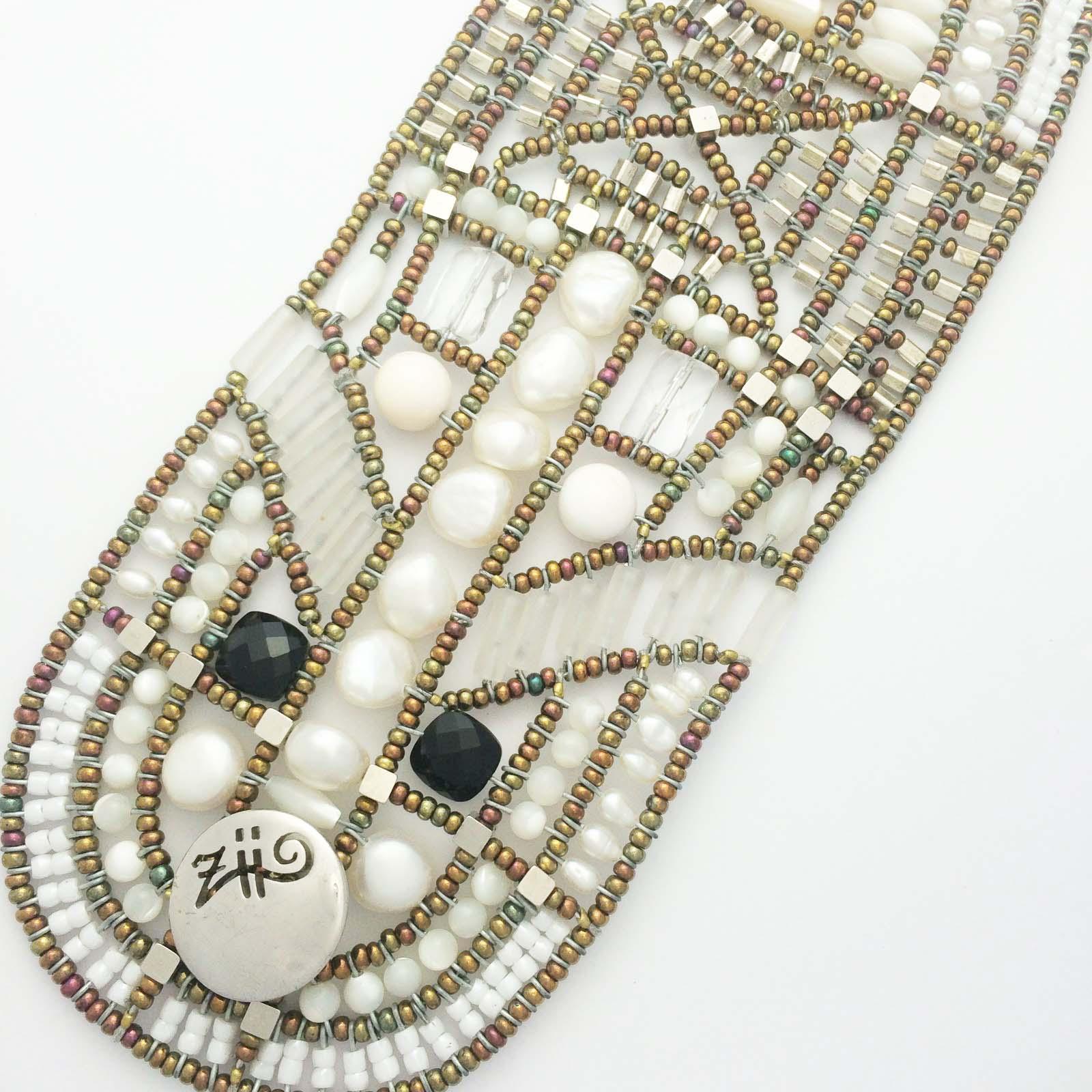 Handmade Italian cuff with pearls and semi precious stones