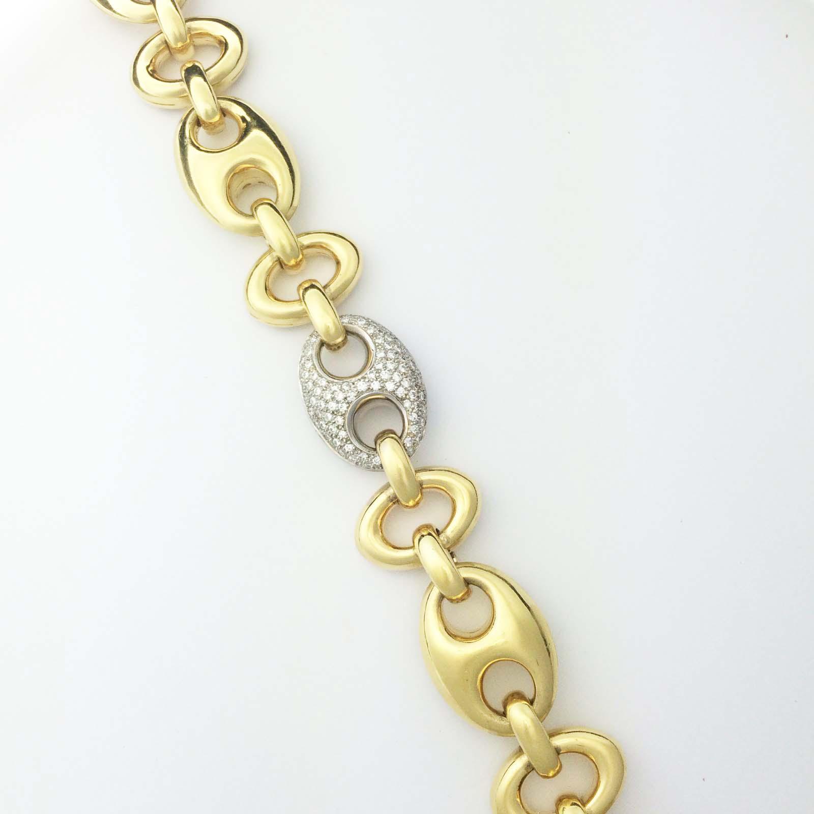 Heavy Italian bracelet with diamond link