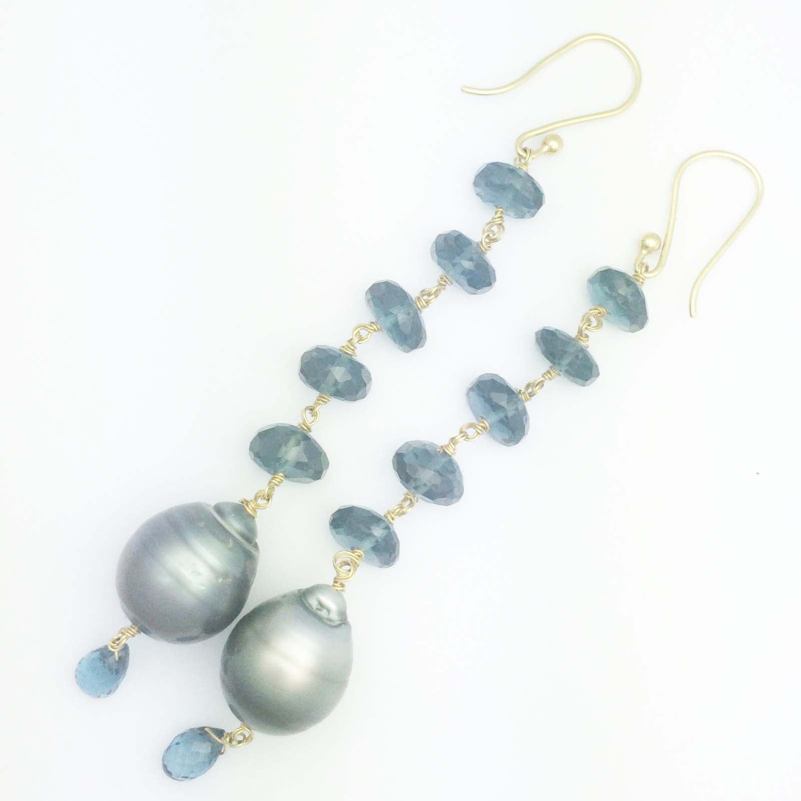 18k London Blue Topaz and Tahitian pearl drop earrings