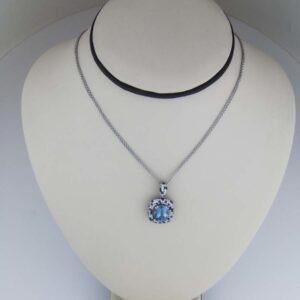 18k Rare Peruvian Opal and diamond 18kt Aquamarine pendant