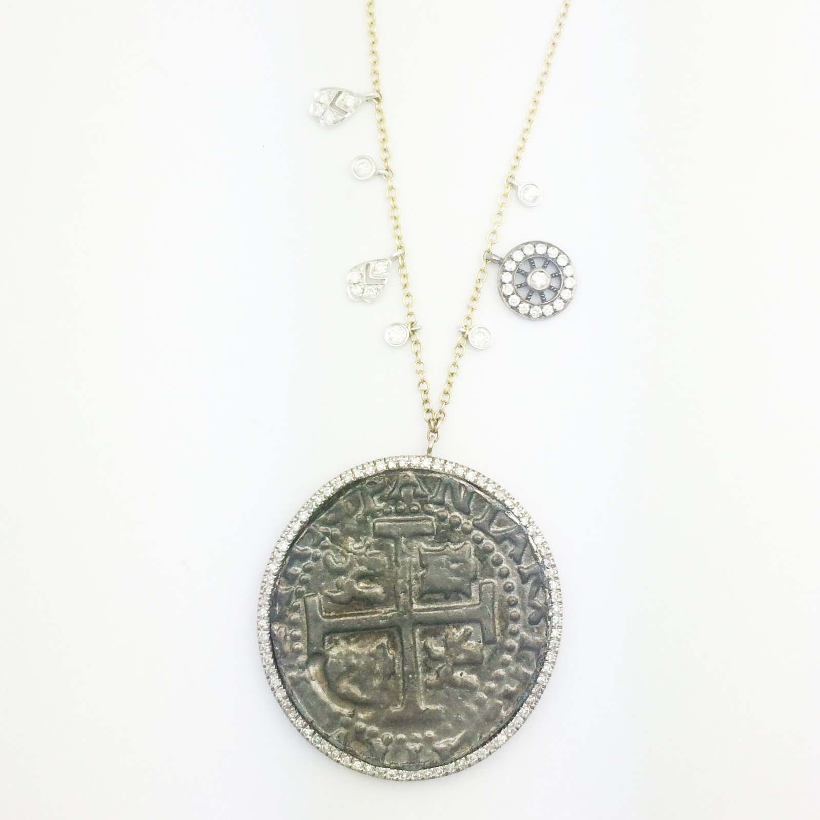 18k large silver coin necklace with diamond accents